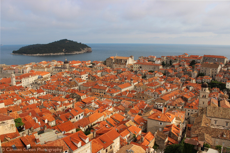 Dubrovnik Old Town and the island of Lokrum looking down from the city walls