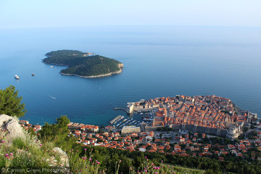 Dubrovnik Old Town and the island of Lokrum looking down from Mount Srd