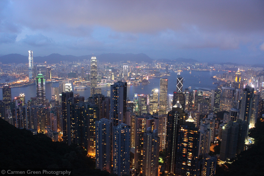 Victoria Peak looking down over Hong Kong at night