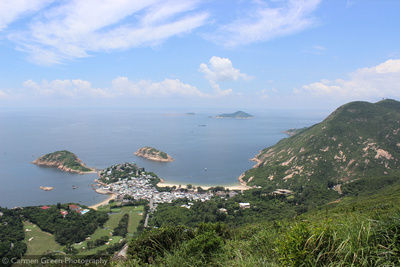 View from the Dragon's back hiking trail over Shek O